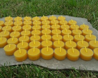 100% Beeswax Tealight Candles - 60 Tealights - Free Ship! - Clear Polycarbonate Cups