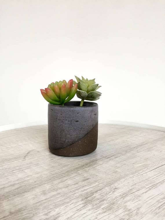 Ceramic mini planter- handmade succulent pot- purple gray