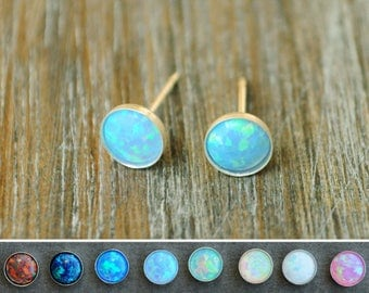 Opal stud earrings. Opal stud. Fire Opal. Valentine Day gift. Opal earrings. Opal Post. Opal silver studs. Blue Opal. Tiny stud. Opal gift