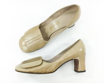 1970s 7.5 Beige Pumps | Leather Heels with Bow | Nordstrom 7.5 37
