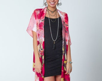 The Florence Kimono- CHERRY Boho Kimono Beach Cover Up, Long Kimono Robe, Summer Kimono, Bohemian Print Kimono, Boho Fashion