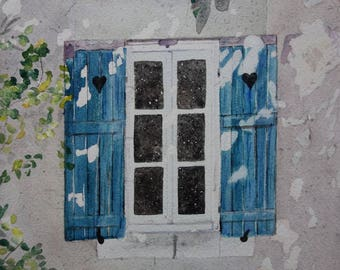 architectural watercolor: Blue shutters in the Sun