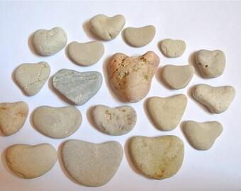 Heart Shaped Stones, 19pcs, Heart Pebbles, Beach Stones, Beach Pebbles, Beach Finds, Stones for Crafts, Stone Hearts