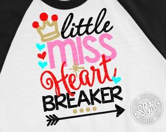 Little Miss heart Breaker svg, valentine cut file, Valentines Day SVG, heart svg, heartbreaker svg, socuteappliques, Valentine svg design