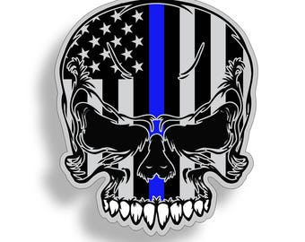 Blue Line Skull Sticker USA BTB Police Vinyl Cup Cooler Car Truck Decal Second 2A Thin