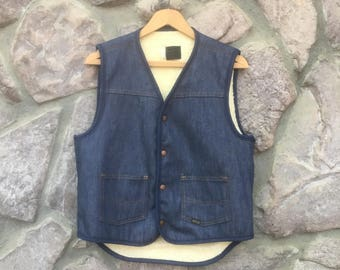 Vintage 70s Sears Roebucks Blue Jean Denim Vest / Sherpa Lining / Snap Closures / Adult Size Medium