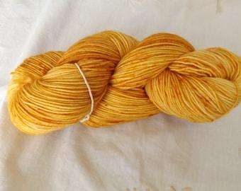 Fingering weight Hand dyed OOAK sock yarn merino/nylon blend 75/25 lilac base (Golden)