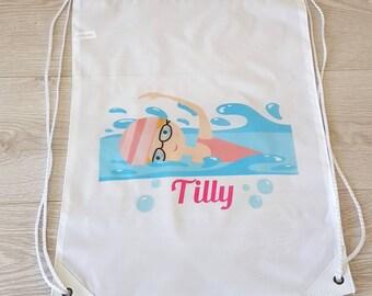 Swimming bag swim bag wet bag drawstring bag drawstring backpack school bag gym bag sports bag pool party PE bag personalised bag beach tote