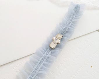 Blue garter, wedding garter, bridal garter, rhinestone diamante luxury garter