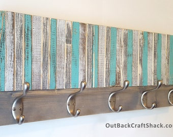 Wood Wall Art Coat Rack, Wall Decor, Towel Rack, Rustic Decor, Beach Part 42