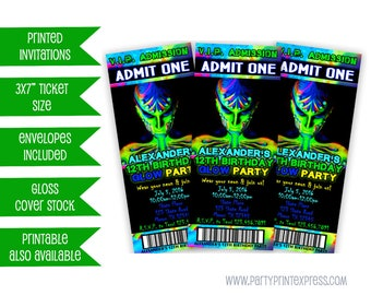 Glow In The Dark Invitation Boy - Glow Party Invitation - Neon Party Invite - Neon Birthday Inviations - Teen Boy Birthday Invitations
