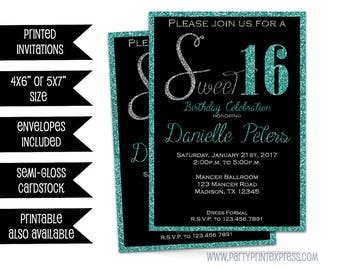 Turquoise Glitter Sweet 16 Invitations - Turquoise Sweet 16 Invitations - Turquoise Glitter Sweet 16 Invites - Black and Blue Sweet 16