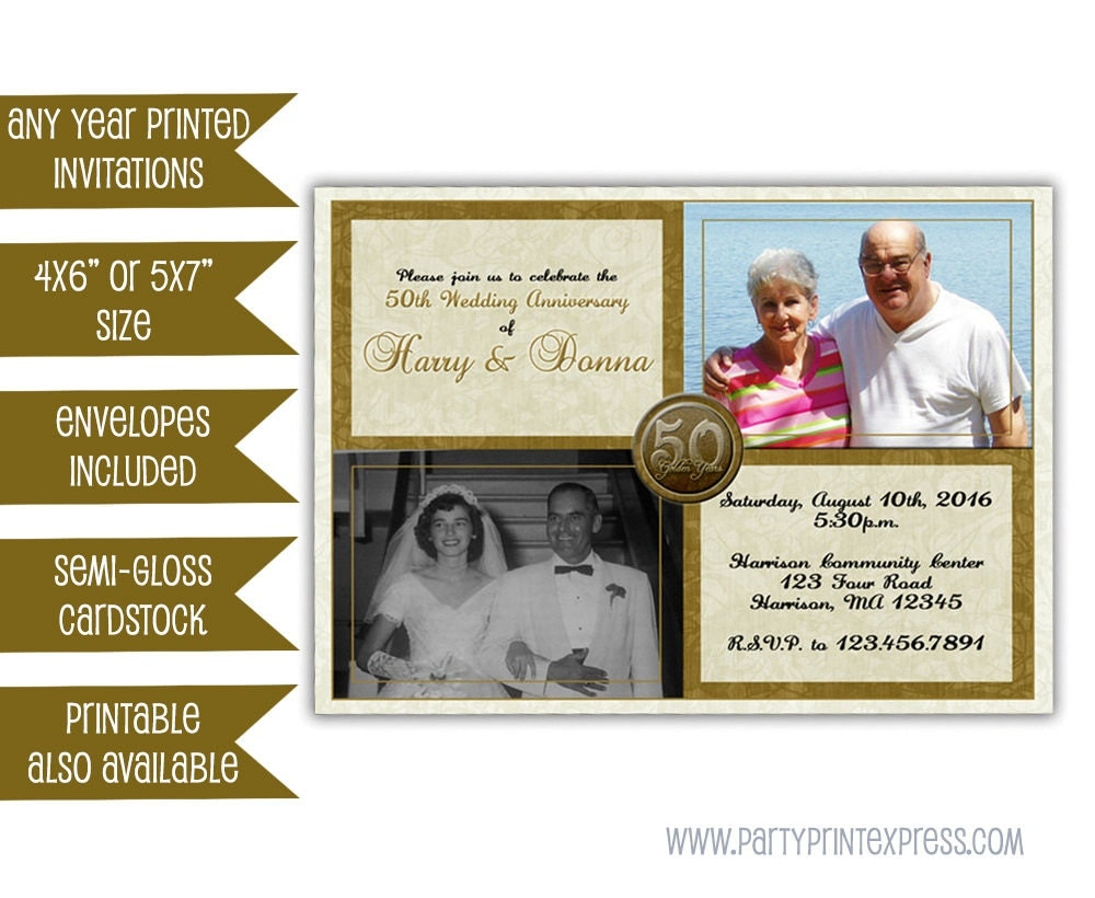 Fiftieth Wedding Anniversary Invitations: 50th Wedding Anniversary Invitation Then And Now Golden 50th