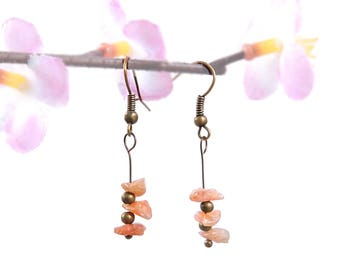 Antique bronze earrings, stone earrings, sunstone jewelry, dangle earrings, bronze jewelry natural sunstone earring nature stone jewelry vyc