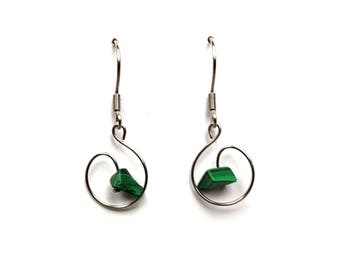 Whimsical jewelry malachite, whimsical malachite earrings natural crystal jewelry natural gemstone earring healing crystal stone jewel aywin
