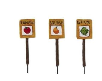 Fairy Garden  - Veggie Garden Markers - Set of 3 - Miniature