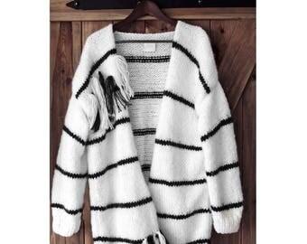 Ready to go! Strips-Fringle Cardigan, Oversized Cardigan, Fluffy Cardigan, Big Sweater, Handmade sweater, Chunky Sweater