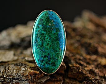 Chrysocolla Silver Ring - 925 Sterling Silver Ring - Chrysocolla ring size 8- Silver Ring - Gemstone Ring