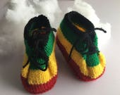 Hand knitted rasta baby shoes