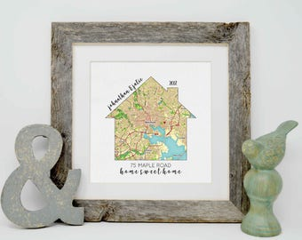 Personalized Housewarming Gifts, Personalized Home Map, First Home Gift for Couple, Home Sweet Home, Our First Home, House Map, New Home