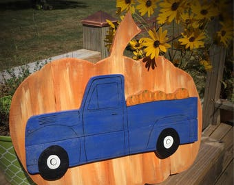 Fall Porch Sign - Fall Pumpkin Sign - Front Door Decor - Pumpkin Door Hanger - Fall Truck Sign - Truck Sign - Thanksgiving Decor - Pumpkins