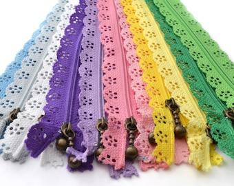 Set of 11 lace zipper 20cm / LFD03