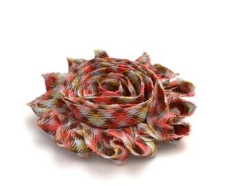 Frayed flower plaid fabric