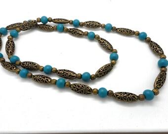 Long necklace wooden beads blue/green, bronze metal beads