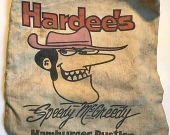 Vintage Canvas Hardee's Speedy McGreedy Hamburger Rustler Back Pack 1970's