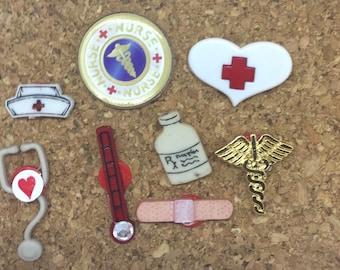 Nurse RN Health Care Worker Push Pins Thumbtacks  x8