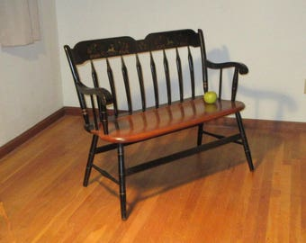 Ethan Allen Deacon's Bench Heirloom Decorated Deer Stencil Arrow Back Maple *Shipping is NOT included. Contact us for a quote.*