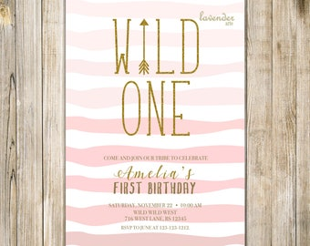 Pink WILD ONE BIRTHDAY Invitation, Gold Wild One Invite, Digital Girls First Birthday, Girl 1st Birthday, Tribal Birthday, Wild One Party