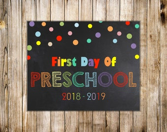 Rainbow FIRST DAY of PRESCHOOL Sign, Printable Chalkboard 1st Day of Preschool Poster, Rainbow Back to School, Colorful, Instant Download