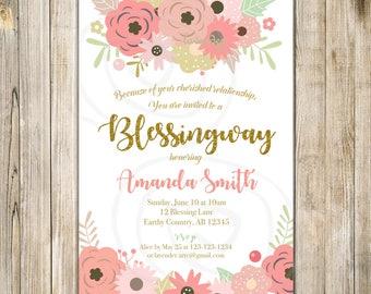 SPRING BLESSINGWAY Invitation, Mother BLESSING Invite, Floral Blessing Way Invites, Pink Floral Baby Shower, Bless the Mommy, Baby Blessing