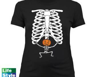 Halloween Maternity Skeleton (Pumpkin Head) Skeleton Baby SuperHero Pregnancy Maternity Costume Tee Best Halloween Gift Announcement CT-1323