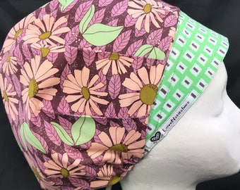 Succulent Daisy Surgical Cap Scrub Hats for Women bouffant Tech OR Nurse Medical Surgery Surgeon LoveNstitchies Green Purple Art Gallery