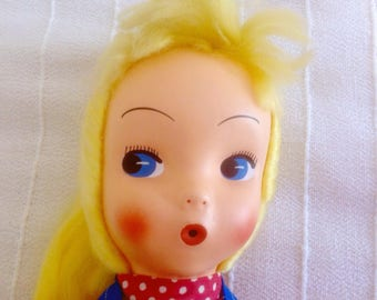 Vintage late 60s / early 70s Rag Doll with plastic face