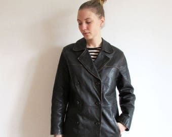 Vintage 90's Dark Brown Leather Double Breasted Jacket Coat Size  S-M
