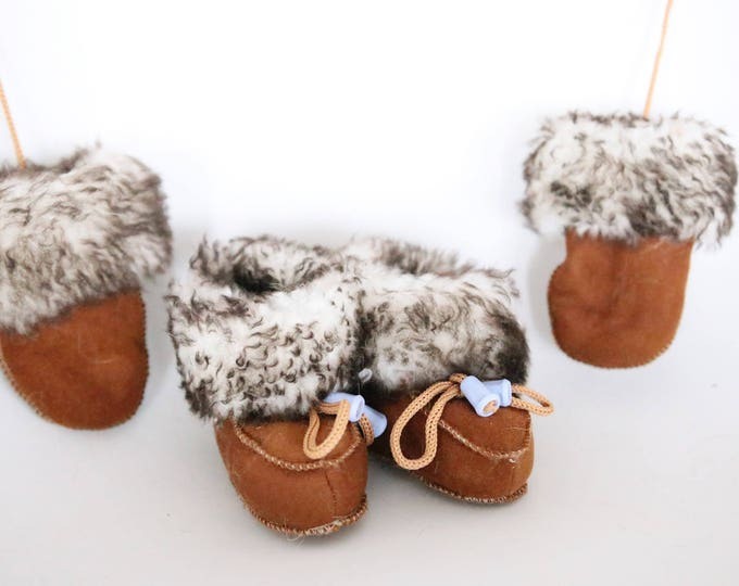 Baby Christmas Set Booties + Gloves | Baby Booties | Sheepskin Slippers Booties | Winter Booties | Newborn leather Booties
