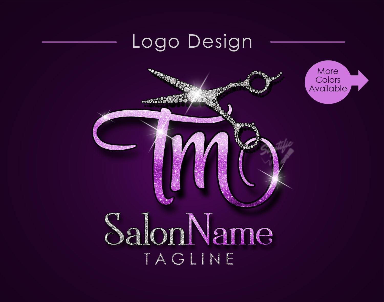 hair salon logo salon name initials logo bling diamond