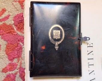 Rare antique 1850 tortoise shell & gold French Carnet de Bal (Dance card book) Monogram M B, Alphonse Giroux Paris moire taffeta silk,