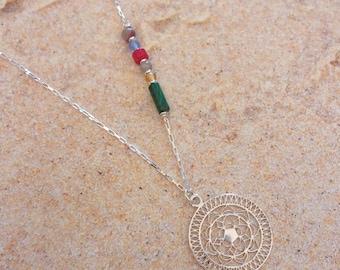 Boho Mandala Silver 925 and natural stones necklace