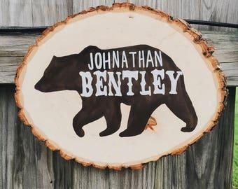 ANIMAL // Wood Slice Name Sign, Nursery Decor, Woodland Nursery, Baby Shower Gift