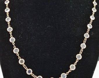 "24"" Swarovski crytal and gold vermeil necklace"