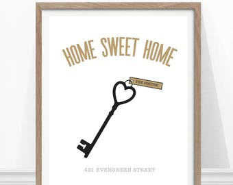 Housewarming Gift, New Homeowners Gift, Personalized Print, Home Print, Address Print