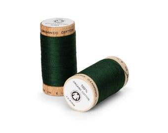 Forest Green Organic Cotton Thread 300 yards-  Eco-Friendly Thread - 100% Organic Cotton Thread