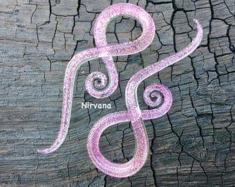 """1 Pair (2 Pieces) Translucent Pink Dichroic Encased Translucent Pink Glass Cork Screw Spirals 10g 8g 6g 4g 2g 0g - 5/8"""" 3mm  - 16 mm"""