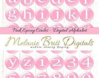 PINK CIRCLE ALPHABET, epoxy alpha set, digital alphabet clipart, pink circle letters and numbers, scrapbook alphabet, printable alphabet pdf