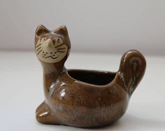 David Stewart for Lions Valley Pottery Ceramic Cat Planter Collectible Stoneware Planter
