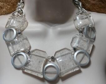 SALE Statement Silver Leaf,Confetti, Clear Lucite Slab/Rock Necklace Choker